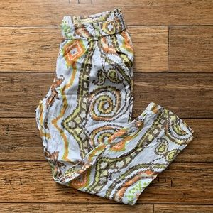 Orange Brown and White Paisley Print Summer Pants